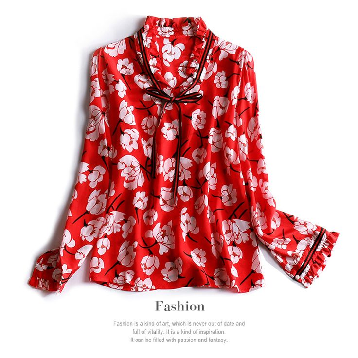 2017 new spring ribbon bow collar fashion long sleeved floral print women silk shirts chiffon blouse red