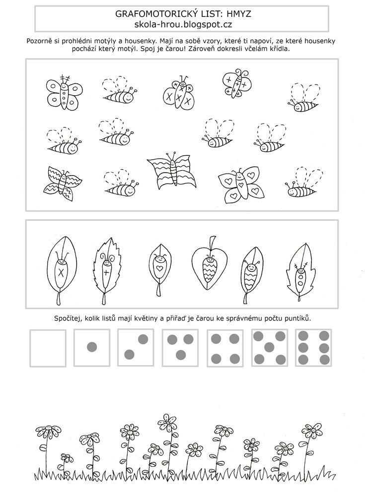 Pracovní list, jaro, hmyz, grafomotorika, matematika, počítání