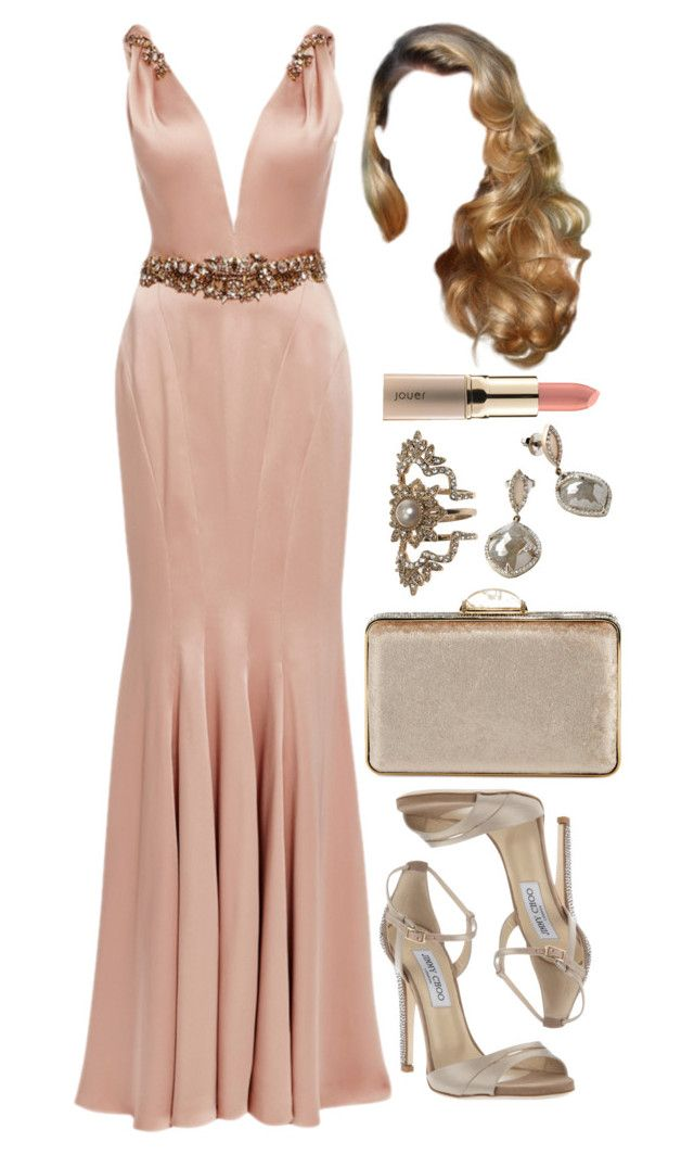 """""""Untitled #4400"""" by natalyasidunova ❤ liked on Polyvore featuring Marchesa, Judith Leiber, Jimmy Choo, Monique Péan and Jouer"""