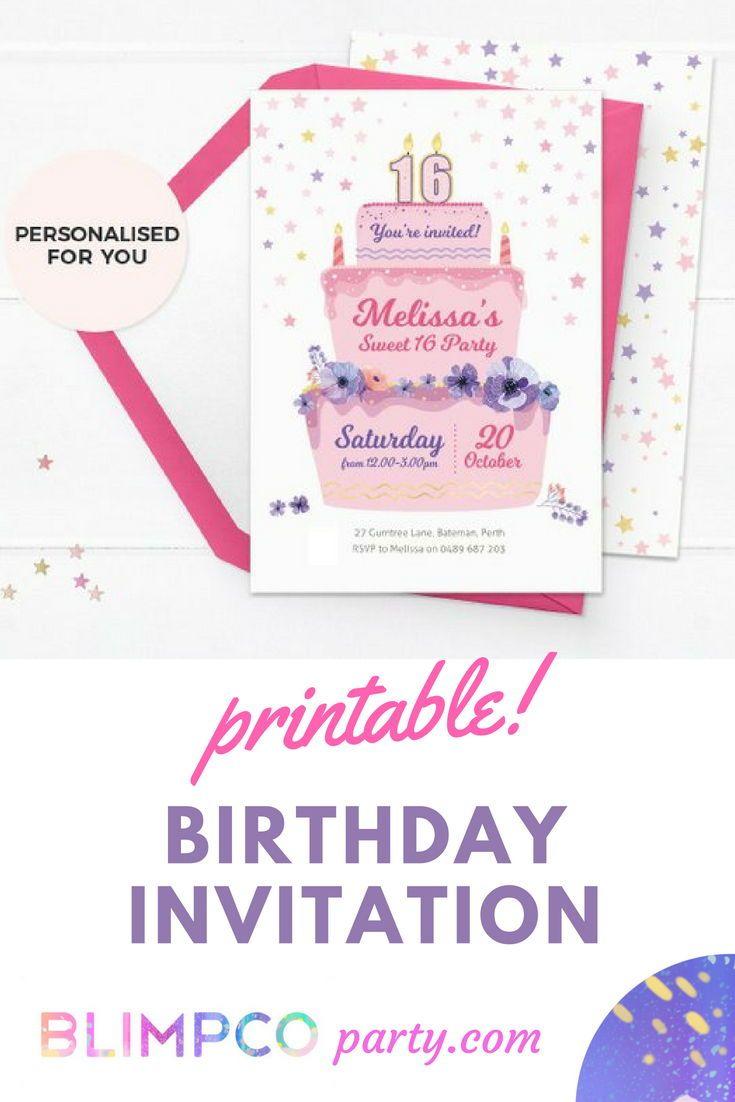 Printable Birthday Invitations Invites Cake Invitation Sweet 16 30th 50th In 2019