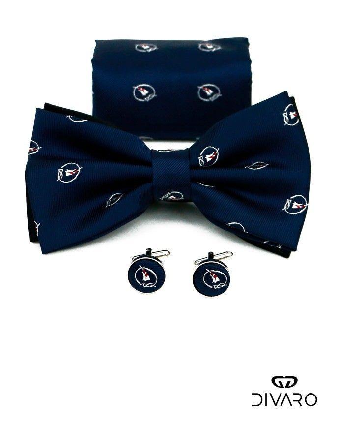 Conjunto formado por pajarita, gemelos y pañuelo, color azul