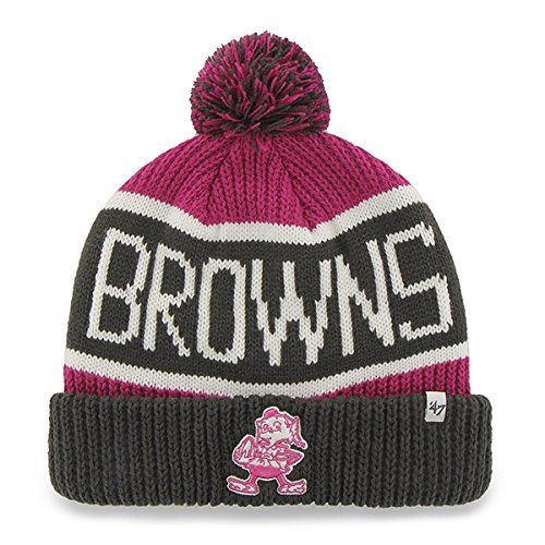 f9ae6a43d0bce2 47 Brand MagentaPink Calgary Beanie Hat with Pom NFL BCA Cuffed Winter Knit  Toque Cap Cleveland Browns *** See this great product.