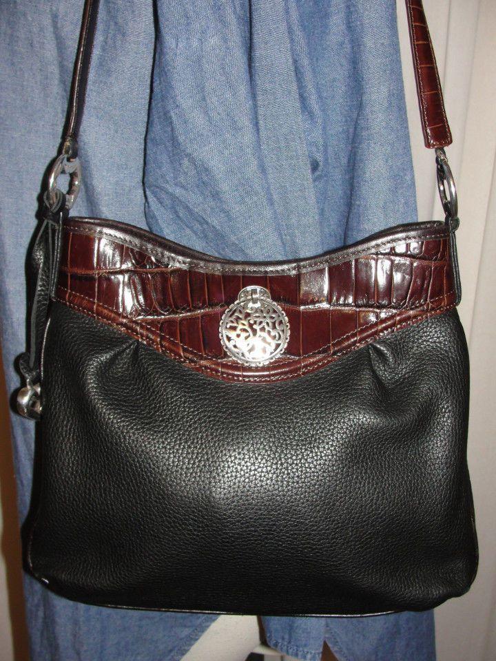 BRIGHTON Purse Black Pebbled Leather & Brown CROC Embossed Shoulder Handbag…
