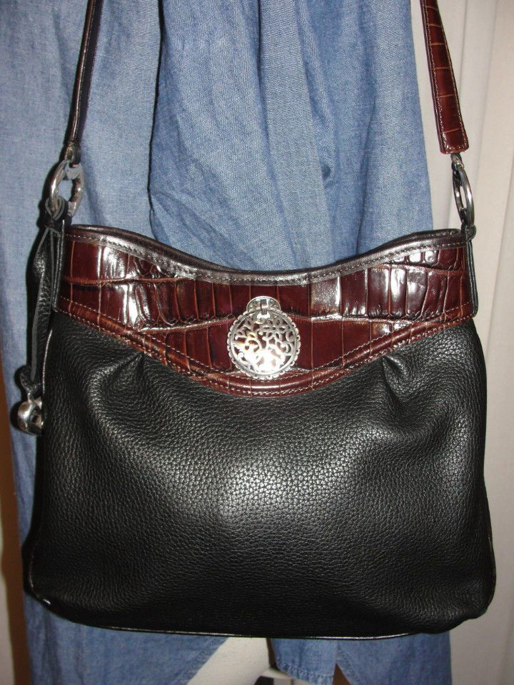 BRIGHTON Purse Black Pebbled Leather & Brown CROC Embossed Shoulder Handbag…