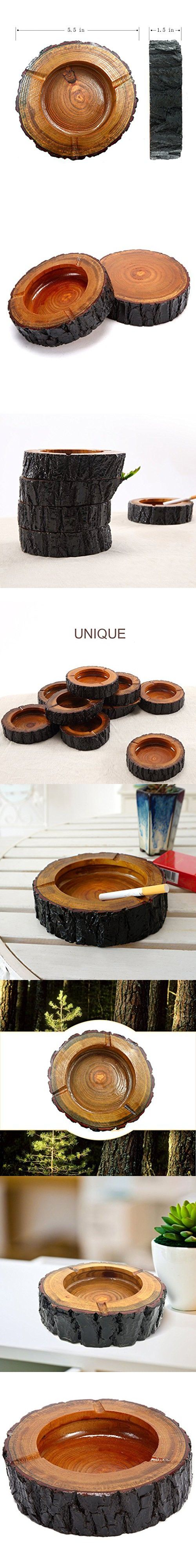 """Teagas 5.5"""" Round Original Wooden Cigarette Ashtray, Outdoors and Indoors Ash Tray"""