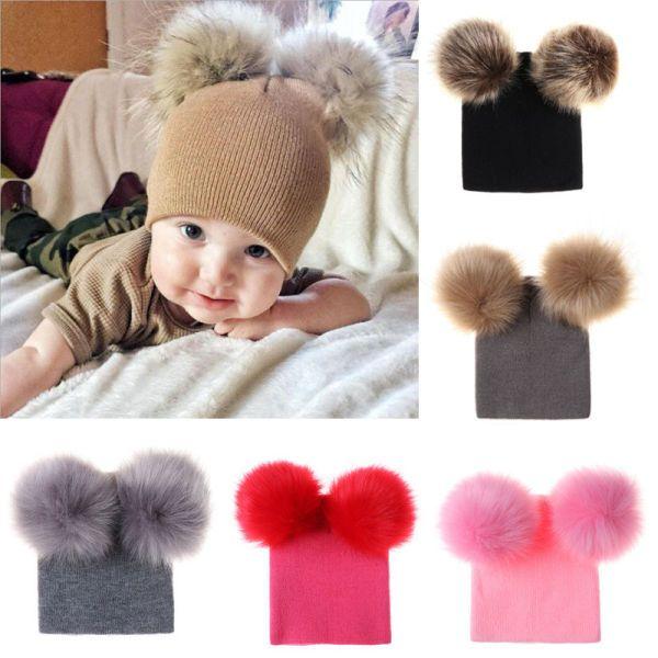Infant Baby Girls Boys Kid Crochet Knit Winter Warm Faux Fur Ball Hat Beanie Cap