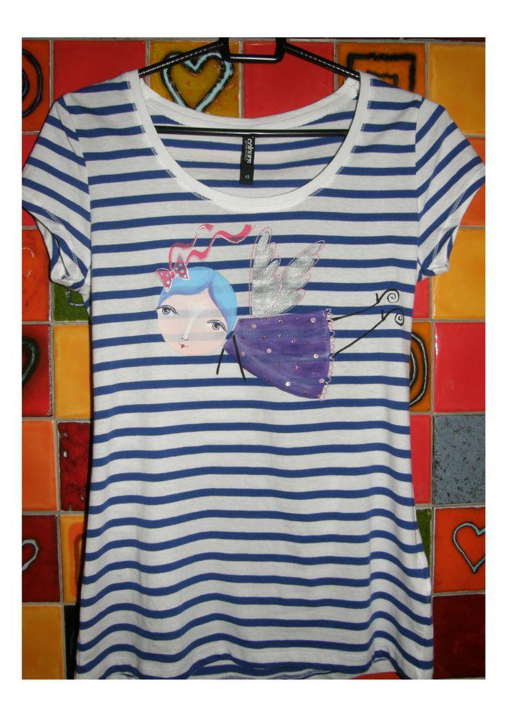 triko veľkosť ,,XS,, originál maľba kvalitnými textilnými farbami