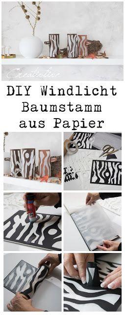 DIY Windlicht Baumstamm aus Papier für die Herbstdeko mit Vorlage zum Download auch für Silhouette Cameo