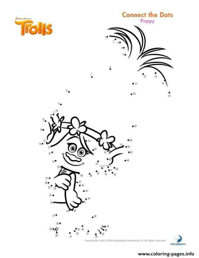 Print poppy connect the dots trolls coloring pages