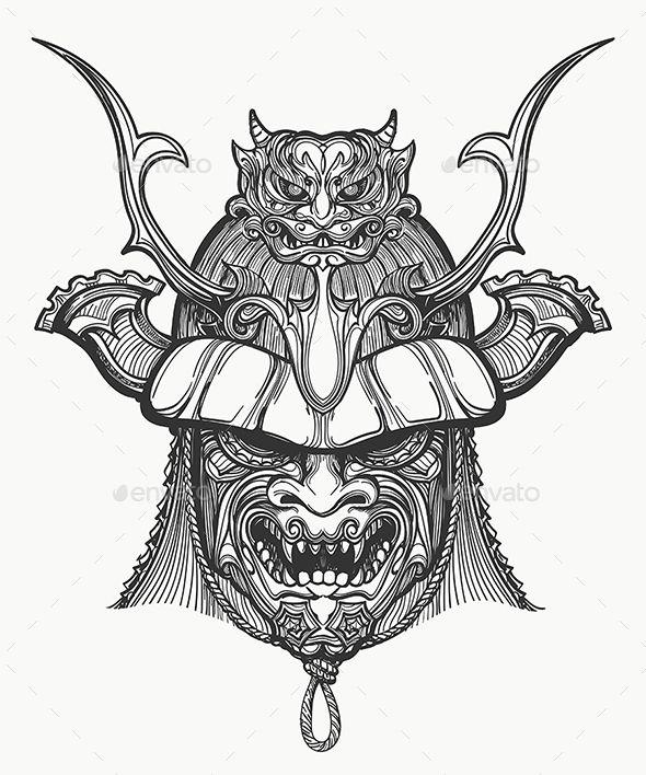 Japan Samurai Mask - Tattoos Vectors