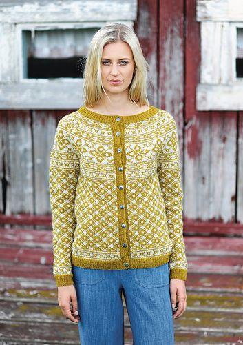 "Ravelry: ""Rygja"" damekofte med rundfelling pattern by Sandnes Design"
