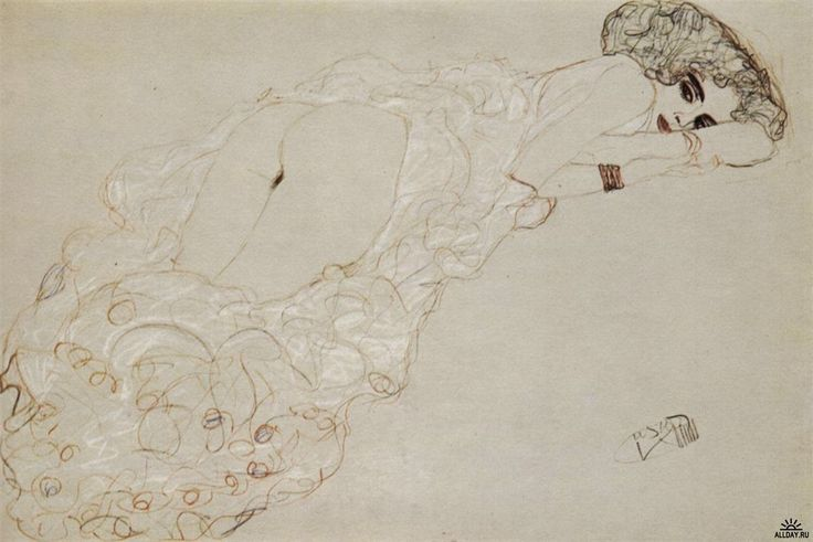 Ξαπλωμένο γυμνό προς τα δεξιά (1910)