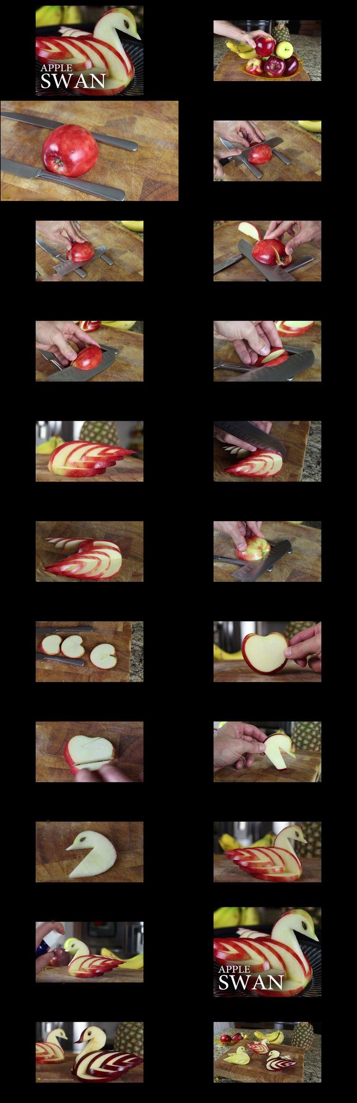 Wonderful DIY Edible Apple Swan