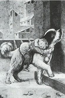 St. Bernard (dog). Drawing of Barry rescuing a small child.
