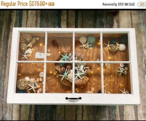 ON SALE Beach style coffee table - beach house decor - rustic coffee table - reclaimed windows - window coffee table - seashell storage tabl by SandJBargainVault on Etsy https://www.etsy.com/listing/513312263/on-sale-beach-style-coffee-table-beach