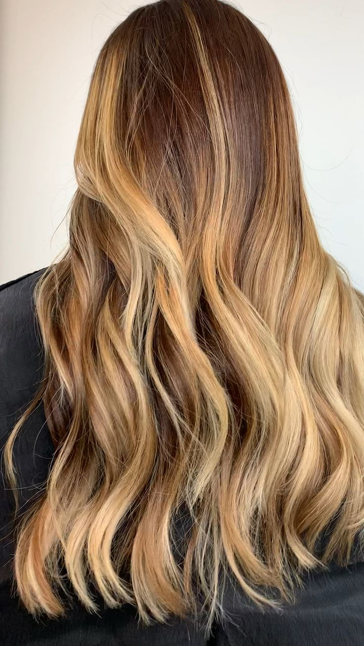 Feb 5, 2020 - Warm honey golden blonde balayage hair color for naturally dark brown hair types