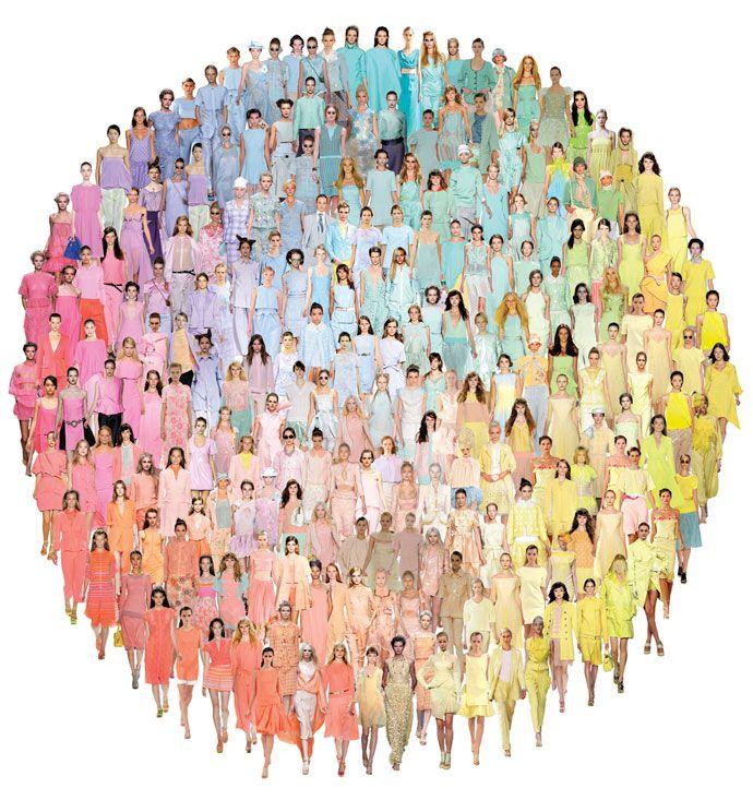 color.people.: Colors People, Colors Trends, Colors Lust, Color Op-, Fashion Art, Colors Wheels, Elle Rainbows, Fashion Trends, Summer Pastel