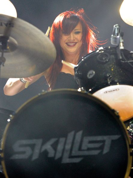 Drummer Jen Ledger of the band Skillet performs during the Carnival of Madness tour at The Joint inside the Hard Rock Hotel & Casino on September 15, 2013 in Las Vegas, Nevada.