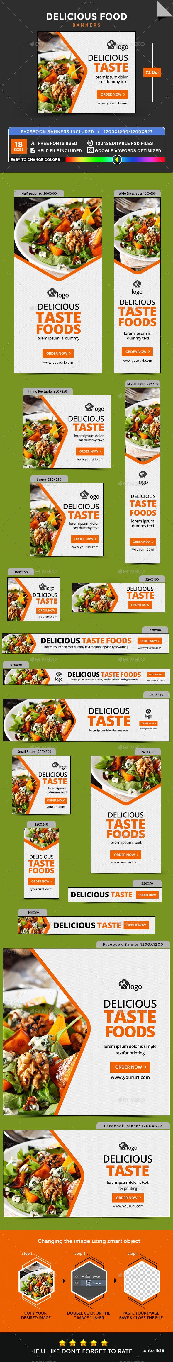 Delicious Food Banners — Photoshop PSD #sales #multi purpose • Available here → https://graphicriver.net/item/delicious-food-banners/17907910?ref=pxcr