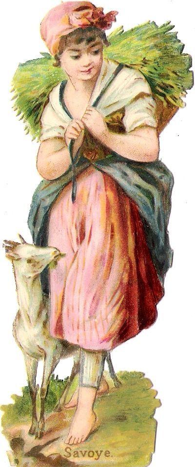 Oblaten Glanzbild scrap die cut chromo Dame femme Lady Dame goat Savoye Geis