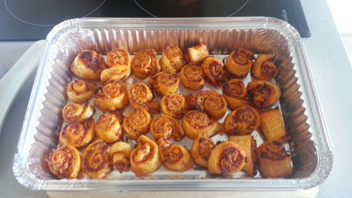Puff pastry apperitive with ham and cheese or majorcan sausage and cheese