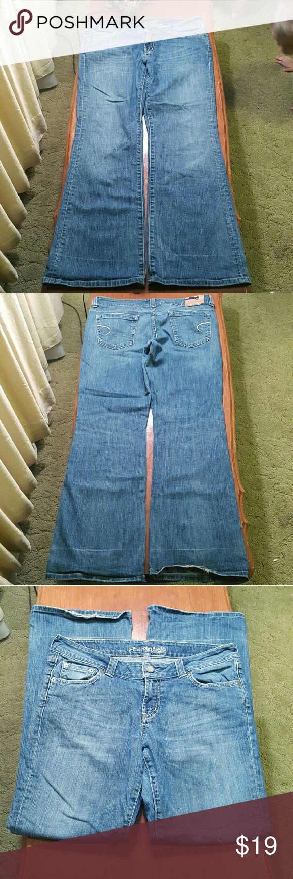 Size 12 Short American Eagle Jeans Really good condition Size 12 Short American Eagle Jeans, Boyfriend 77 Style. Very Slight hem wear on back left jean leg. There is a black X on the inside, but you can't see it wearing. I think it's there because I bought with a discount and the place I bought them had a no return policy. They were new with tags when I bought them but it was from an outlet type store. American Eagle Outfitters Jeans Flare & Wide Leg