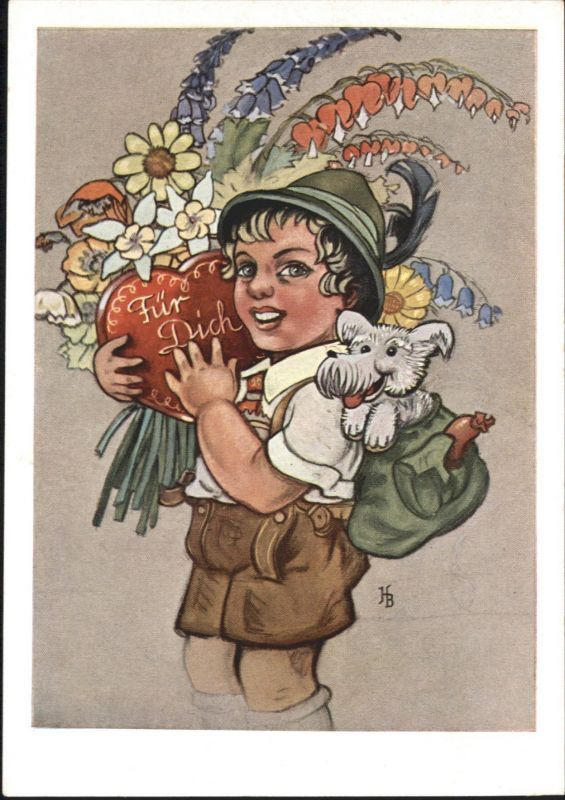 Vintage Boettcher Hans Stuttgart Kind Trachten Hund Blumen Stuttgart Stuttgart u