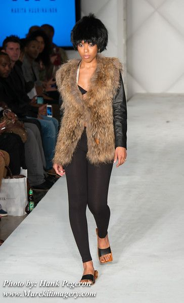Natural raccoon vest, black fox hat and Kulku - shoes #FWB