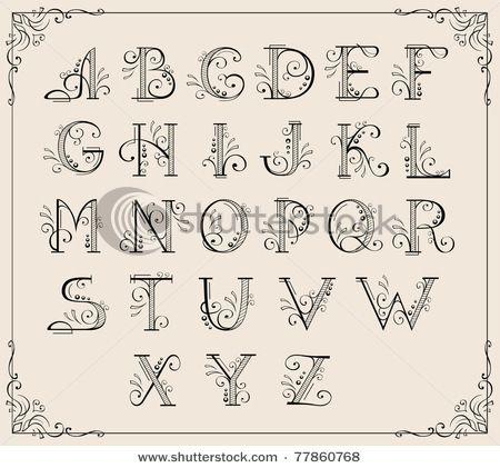 Calligraphic swirly alphabet
