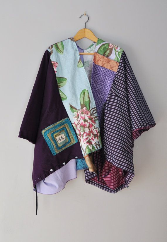 CUSTOM Upcycled KIMONO Tunic Wrap/Petite to by RebirthRecycling---  I'm not sure that I like this, but do like the IDEA!