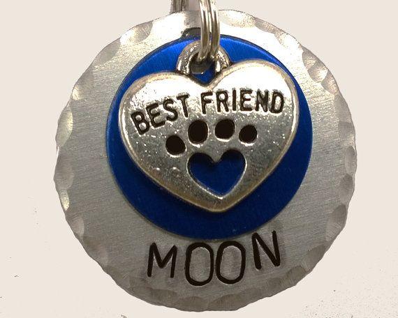 Best Friend pet tag, blue tag, dog tag, custom pet id tag, engraved dog tag, custom dog tag, personalized dog tag, small dog tag, cat tag