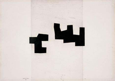 Eduardo Chillida -Leku II, 1969 Etching 74 x 104 cm Even as a draughtsman and graphic artist, Chillida remained faithful to his guiding artistic principle. He formed imaginary spaces with his clean-cut geometric shapes, intriguingly set against the white backdrop. This effect is further enhanced by the haptic quality of the embossed prints, where the heavy pressure plates have sunk into the soft hand-made paper and left deep embossing traces on the sheet