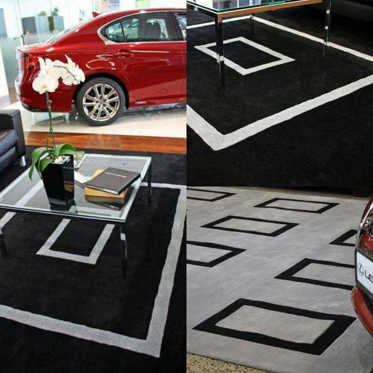 Bold geometric custom rugs are just the ticket for making a statement. These look fantastic in the Lexus Showroom. #geometricpattern #geometric #rugdesign #Lexus #interiordesign #showroom #sourcemondialNZ