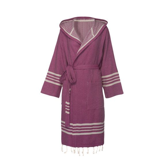 TOPRAK Turkish Towel Bathrobe with Hood is high-quality, 100% natural Turkish cotton with Fringe.