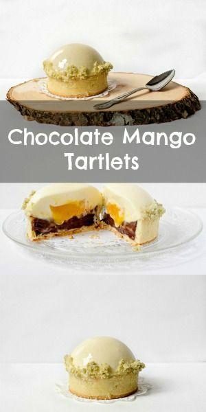 Chocolate Mango Tartlets - crisp crust, chocolate raspberry cremeux, white chocolate mousse and mango insert, plus white chocolate glaze and matcha streusel.