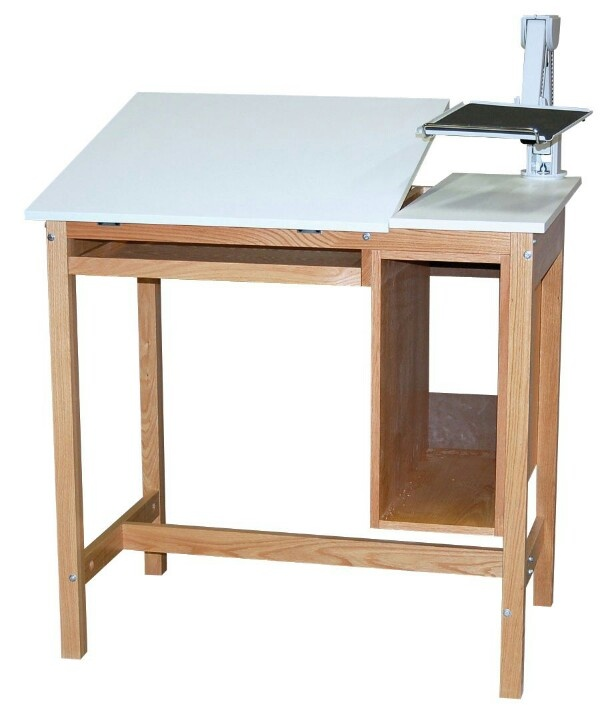 classroom desk drawing. drafting table with monitor stand. classroom desk drawing
