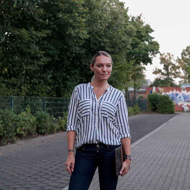 Style Trend Striped Blouse | Outfit Gestreifte Bluse & Schlagjeans…