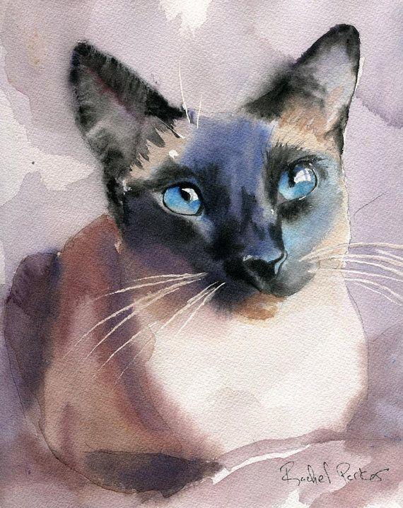 Print Siamese Cat Art Print of a watercolor door rachelsstudio