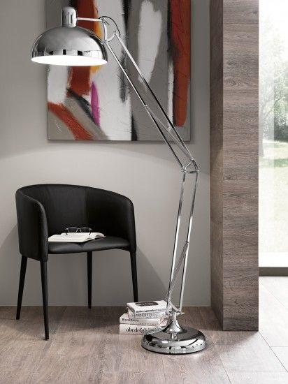 cod. JL2701 - #piantana regolabile in metallo finitura cromata adatta ad uso in #ufficio o in #casa.