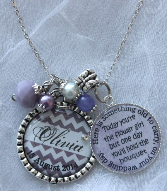 Flower Girl Necklace personalized childrens name by TrendyTz, $26.99