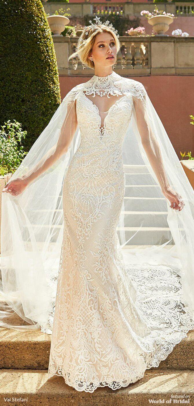 Val Stefani Spring 2019 Wedding Dresses World Of Bridal Grecian Wedding Dress Lacy Wedding Dresses Cape Wedding Dress [ 1400 x 670 Pixel ]