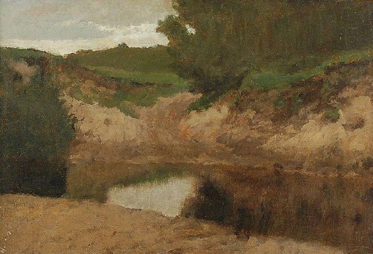 Józef CHEŁMOŃSKI (1849-1914)  Pejzaż pochmurny olej, płótno naklejone na płytę, 24,5 x 35 cm