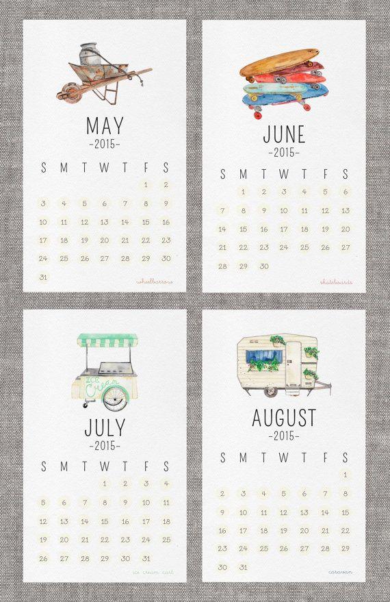 "2015 Watercolor Wall Calendar ""on wheels"""