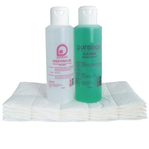 KIT solvente POCKET Cleaner sgrassatore con 125 ml + 125 ml di acetone rimozione pura cellulosa + 100 piazze per gel e unghie finte