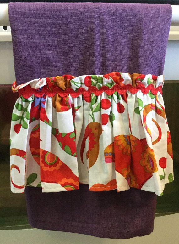 Kitchen Purple Tea Towel Bird Print Fabric