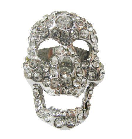 Anel de Caveira Regulável com Strass #skull #ring #caveira #anel