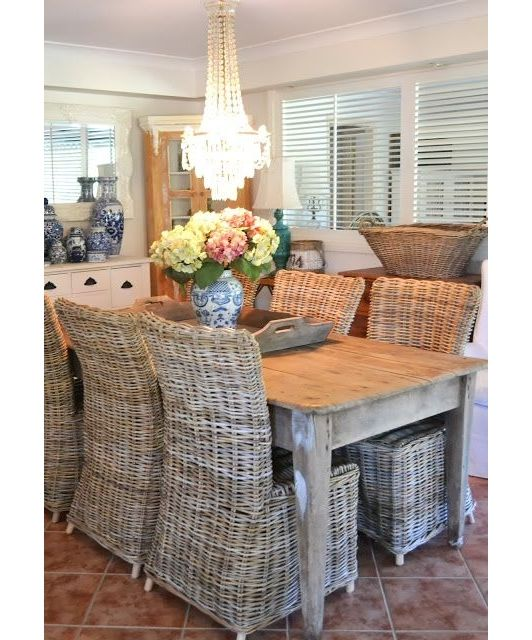 Lovely Dining Room Area With Unique Wicker Chairs