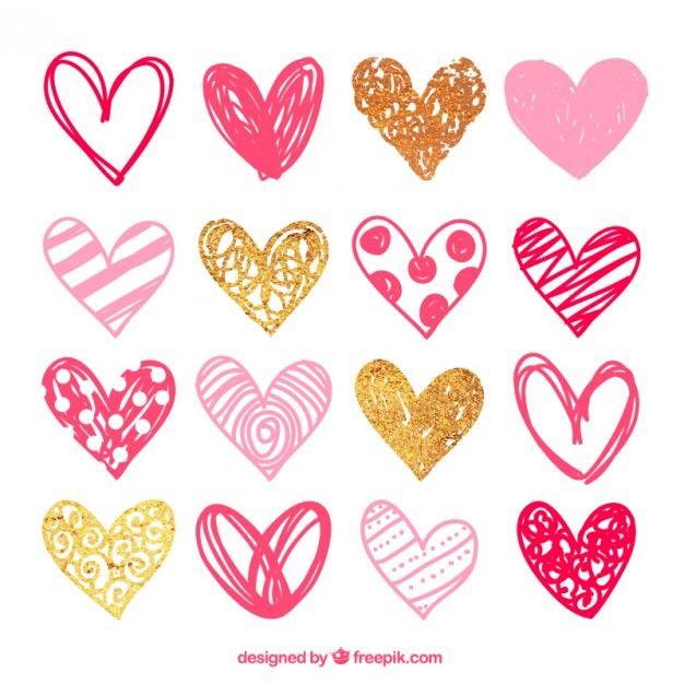 Paquete de corazones rosas esbozados Vector Gratis