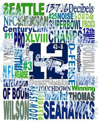 Seattle Seahawks 12th Man Print NFL Football Man Cave Tailgating Fan Home Decor