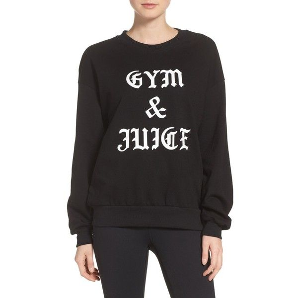Women's Private Party Gym & Juice Sweatshirt ($88) ❤ liked on Polyvore featuring tops, hoodies, sweatshirts, black, going out tops, holiday party tops, night out tops and party tops